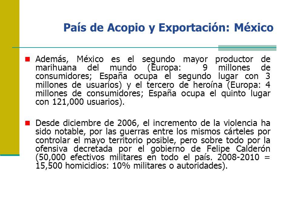País de Acopio y Exportación: México Además, México es el segundo mayor productor de marihuana del mundo (Europa: 9 millones de consumidores; España o