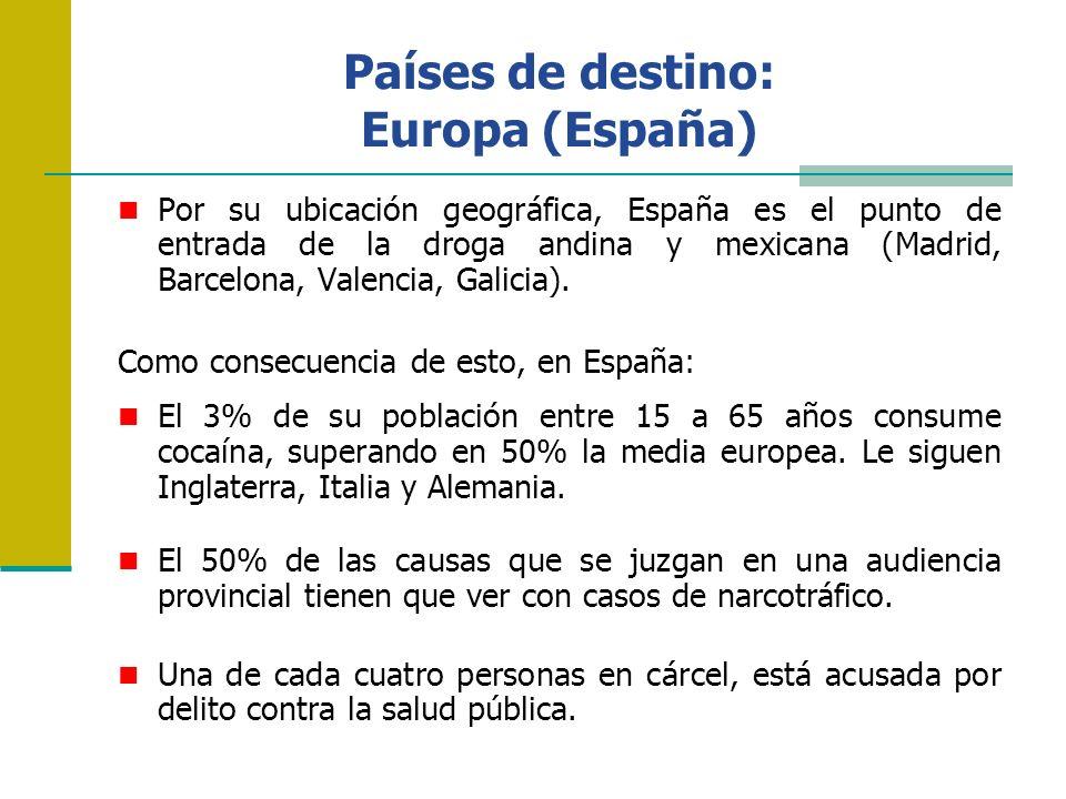 Países de destino: Europa (España) Por su ubicación geográfica, España es el punto de entrada de la droga andina y mexicana (Madrid, Barcelona, Valenc