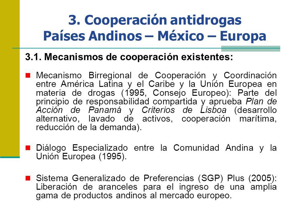3. Cooperación antidrogas Países Andinos – México – Europa 3.1. Mecanismos de cooperación existentes: Mecanismo Birregional de Cooperación y Coordinac