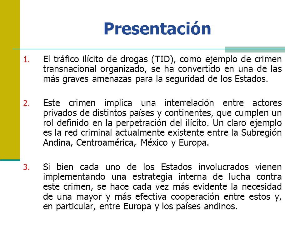 Presentación 1. El tráfico ilícito de drogas (TID), como ejemplo de crimen transnacional organizado, se ha convertido en una de las más graves amenaza