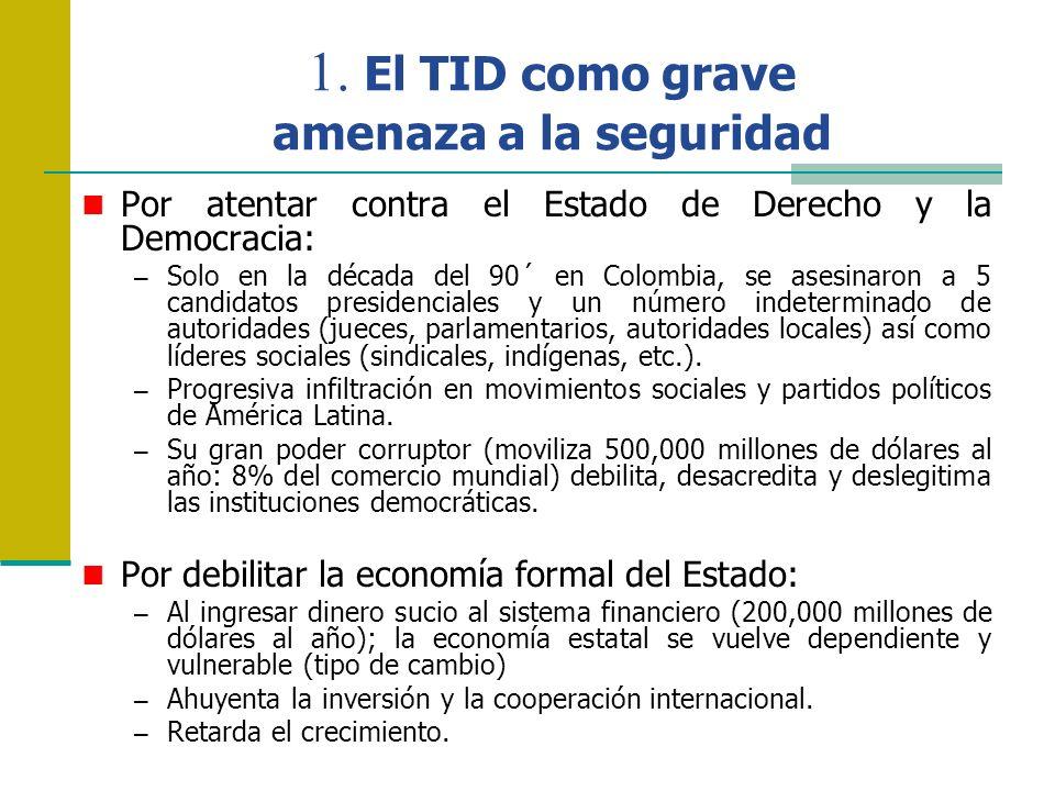 1. El TID como grave amenaza a la seguridad Por atentar contra el Estado de Derecho y la Democracia: – Solo en la década del 90´ en Colombia, se asesi