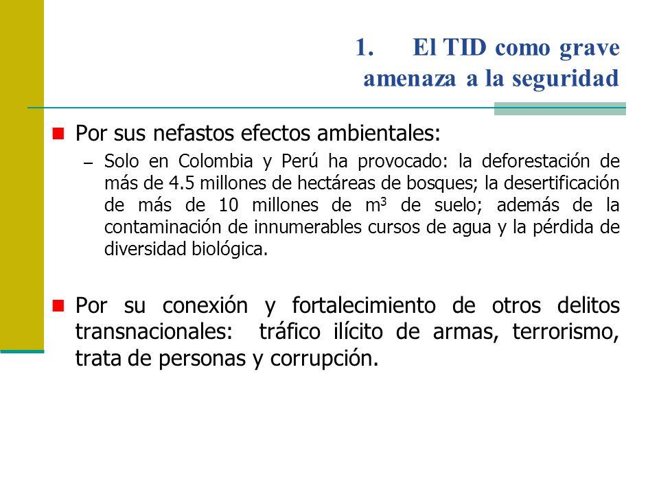 Por sus nefastos efectos ambientales: – Solo en Colombia y Perú ha provocado: la deforestación de más de 4.5 millones de hectáreas de bosques; la dese