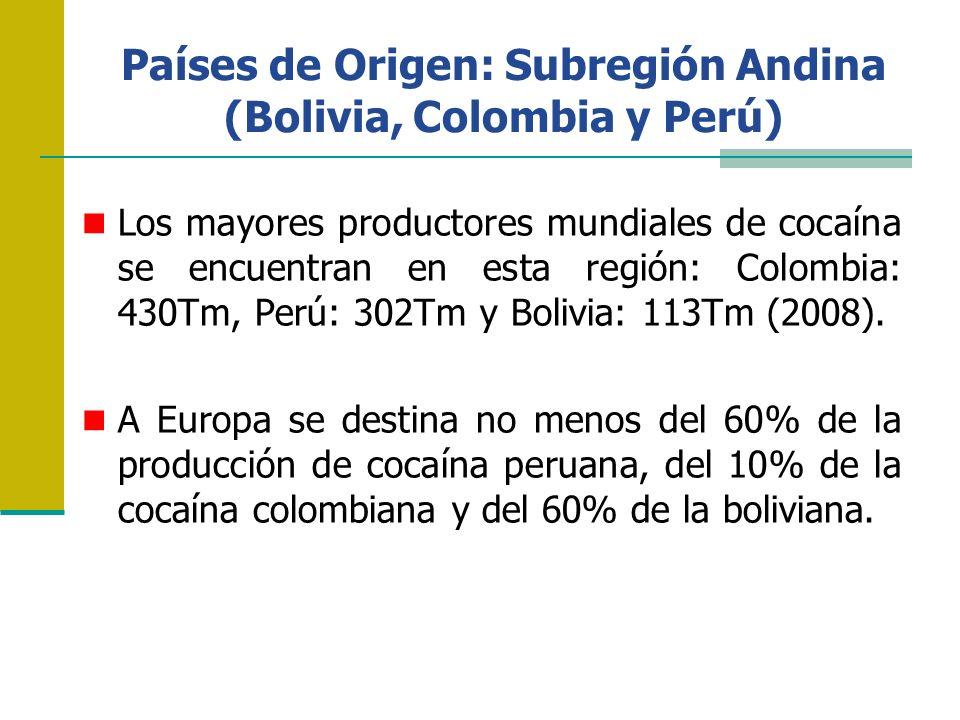 Países de Origen: Subregión Andina (Bolivia, Colombia y Perú) Ahora bien, de la cocaína que se consume en Europa: el 48% es colombiana, el 30% peruana y el 18% boliviana.