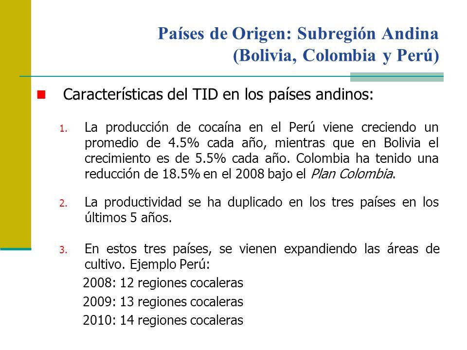 Países de Origen: Subregión Andina (Bolivia, Colombia y Perú) Características del TID en los países andinos: 1. La producción de cocaína en el Perú vi