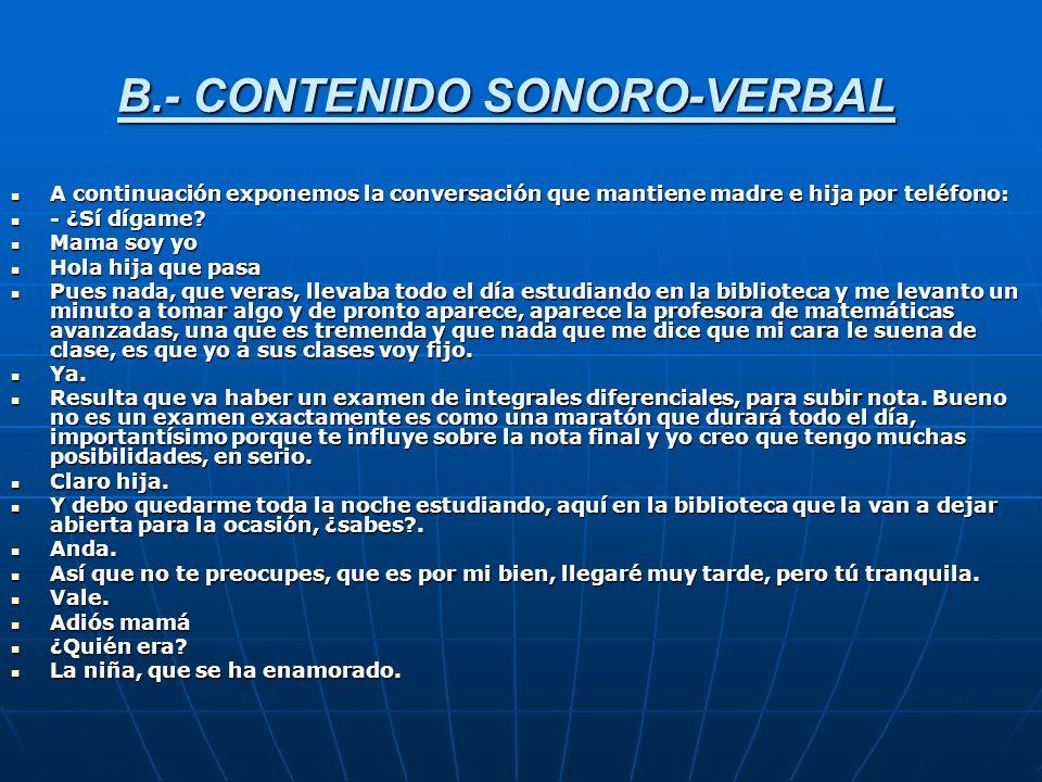 B.- CONTENIDO SONORO-VERBAL A continuación exponemos la conversación que mantiene madre e hija por teléfono: A continuación exponemos la conversación