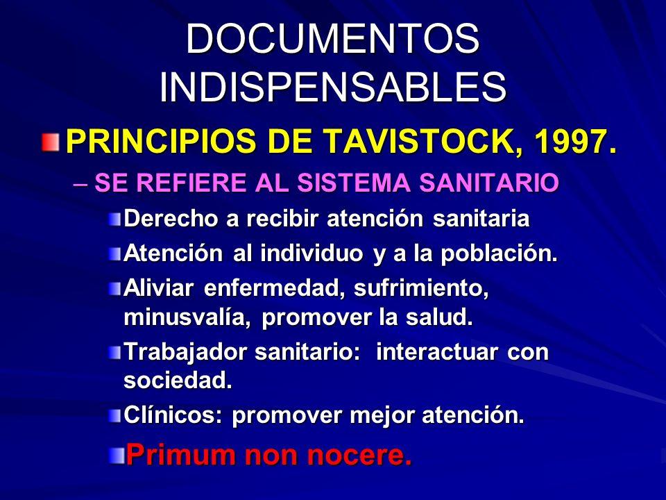 DOCUMENTOS INDISPENSABLES PRINCIPIOS DE TAVISTOCK, 1997.