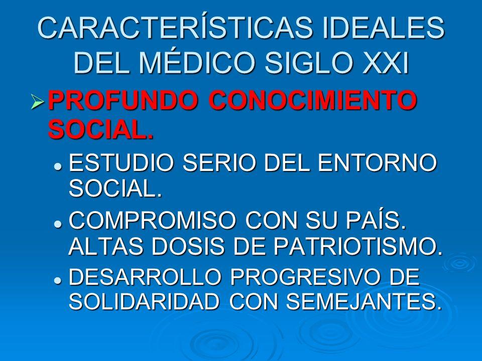 CARACTERÍSTICAS IDEALES DEL MÉDICO SIGLO XXI PROFUNDO CONOCIMIENTO SOCIAL.
