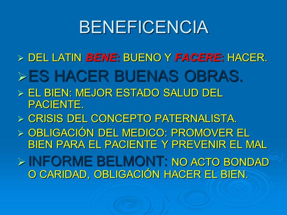 BENEFICENCIA DEL LATIN BENE : BUENO Y FACERE: HACER.