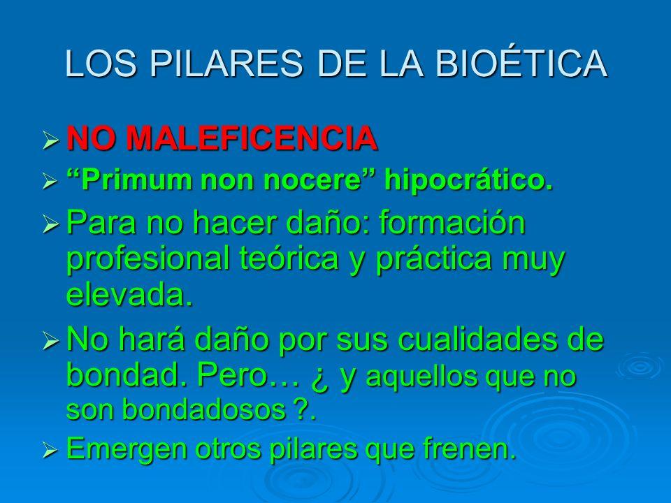 LOS PILARES DE LA BIOÉTICA NO MALEFICENCIA NO MALEFICENCIA Primum non nocere hipocrático.