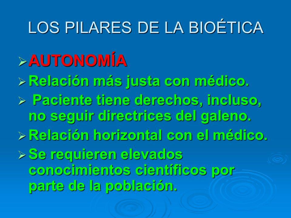 LOS PILARES DE LA BIOÉTICA AUTONOMÍA AUTONOMÍA Relación más justa con médico.