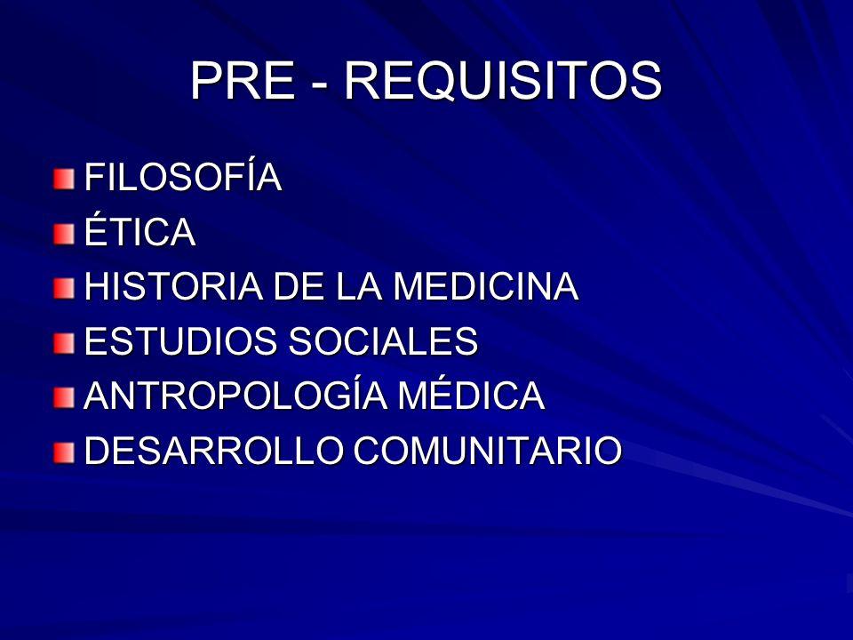PRE - REQUISITOS FILOSOFÍAÉTICA HISTORIA DE LA MEDICINA ESTUDIOS SOCIALES ANTROPOLOGÍA MÉDICA DESARROLLO COMUNITARIO