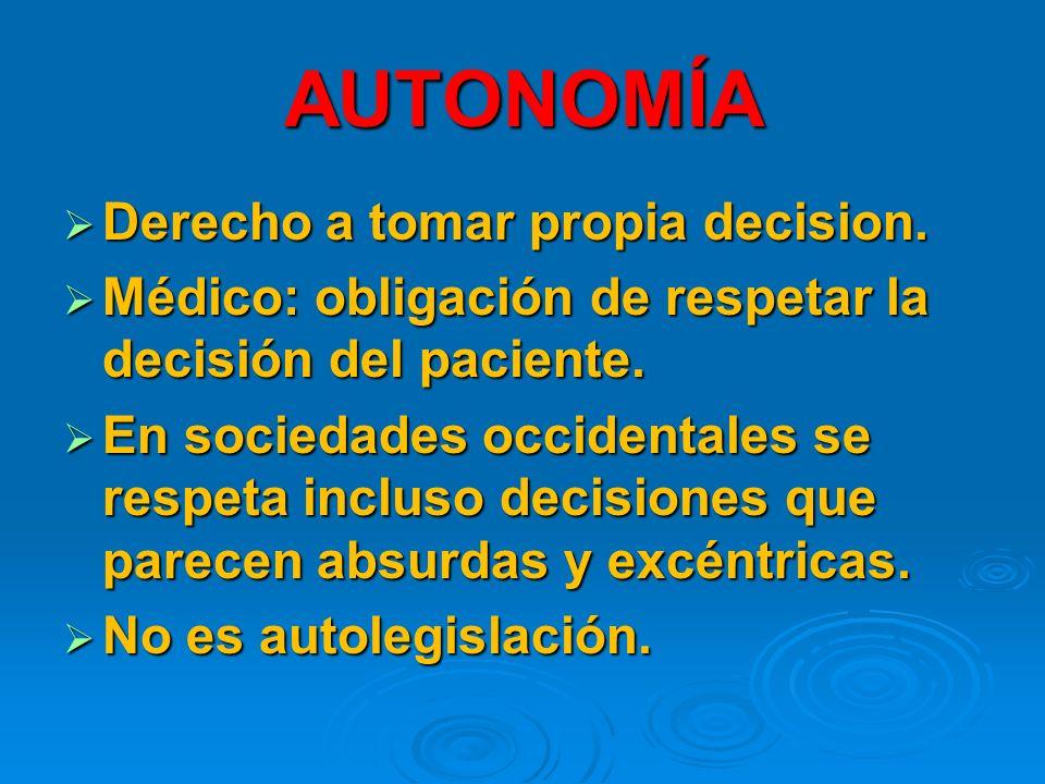 AUTONOMÍA Derecho a tomar propia decision.Derecho a tomar propia decision.