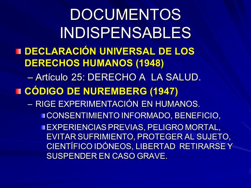 DOCUMENTOS INDISPENSABLES DECLARACIÓN UNIVERSAL DE LOS DERECHOS HUMANOS (1948) –Artículo 25: DERECHO A LA SALUD.