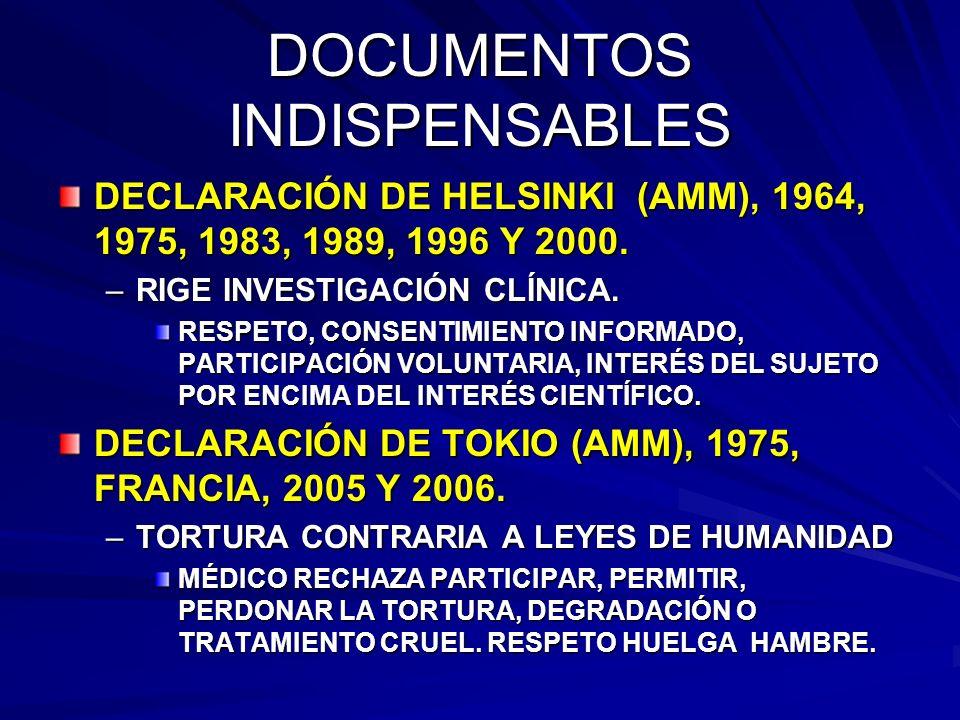 DOCUMENTOS INDISPENSABLES DECLARACIÓN DE HELSINKI (AMM), 1964, 1975, 1983, 1989, 1996 Y 2000.