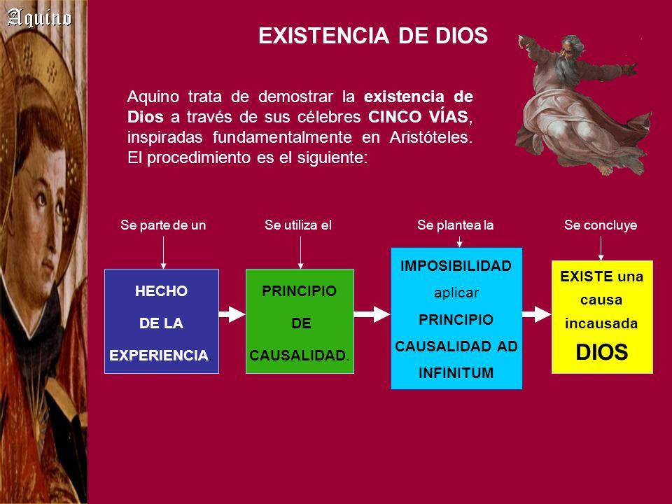 EXISTENCIA DE DIOS Aquino trata de demostrar la existencia de Dios a través de sus célebres CINCO VÍAS, inspiradas fundamentalmente en Aristóteles. El