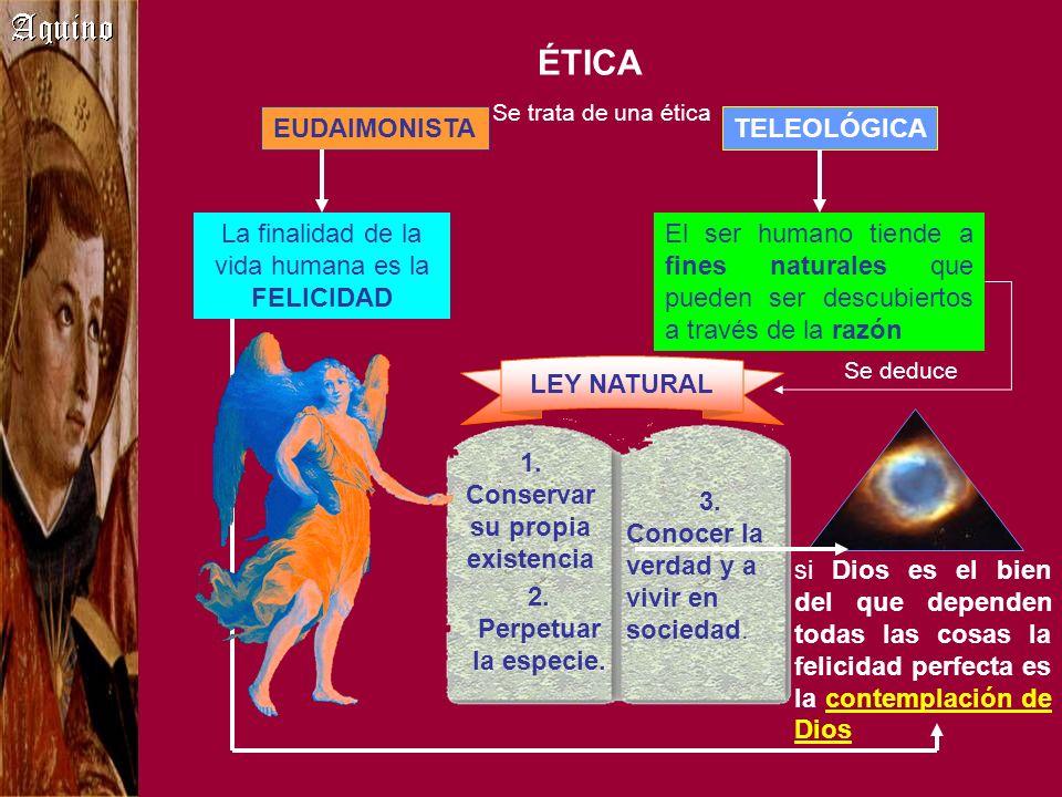 ÉTICA Se trata de una ética La finalidad de la vida humana es la FELICIDAD El ser humano tiende a fines naturales que pueden ser descubiertos a través