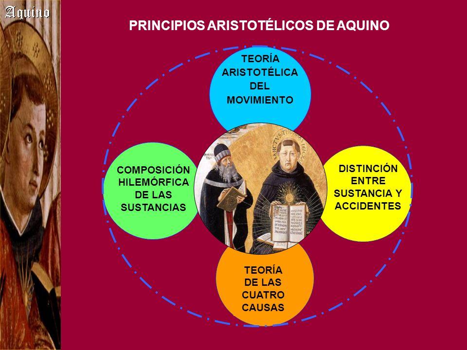 PRINCIPIOS no ARISTOTÉLICOS DE AQUINO DISTINCIÓN ESENCIA/ EXISTENCIA CONCEPTO DE PARTICIPACIÓN PRINCIPIO DE CAUSALIDAD EJEMPLAR PRINCIPIO DE LOS GRADOS DEL SER Y PERFECCIÓN Neopitagóricos Dionisio Areopagita San Agustín Platón Alfarabí y Avicena