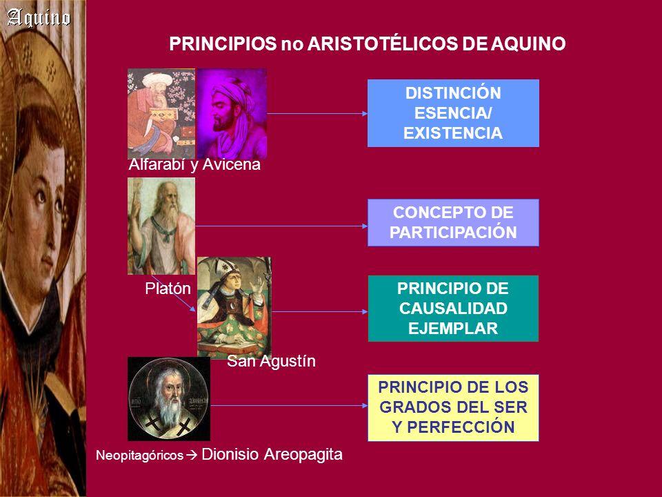 PRINCIPIOS no ARISTOTÉLICOS DE AQUINO DISTINCIÓN ESENCIA/ EXISTENCIA CONCEPTO DE PARTICIPACIÓN PRINCIPIO DE CAUSALIDAD EJEMPLAR PRINCIPIO DE LOS GRADO