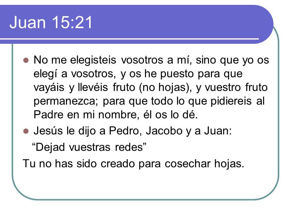 Juan 15:21 No me elegisteis vosotros a mí, sino que yo os elegí a vosotros, y os he puesto para que vayáis y llevéis fruto (no hojas), y vuestro fruto permanezca; para que todo lo que pidiereis al Padre en mi nombre, él os lo dé.