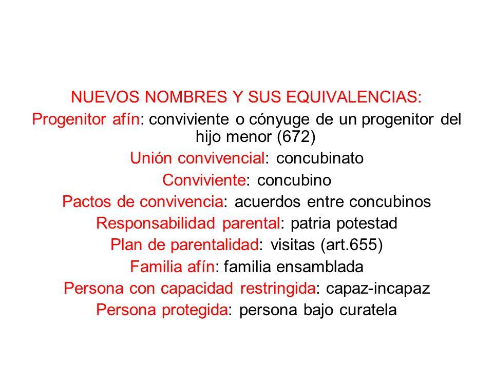 NUEVOS NOMBRES Y SUS EQUIVALENCIAS: Progenitor afín: conviviente o cónyuge de un progenitor del hijo menor (672) Unión convivencial: concubinato Convi