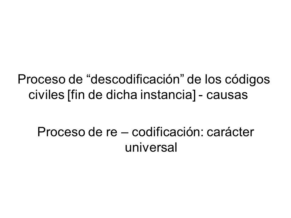 Proceso de descodificación de los códigos civiles [fin de dicha instancia] - causas Proceso de re – codificación: carácter universal