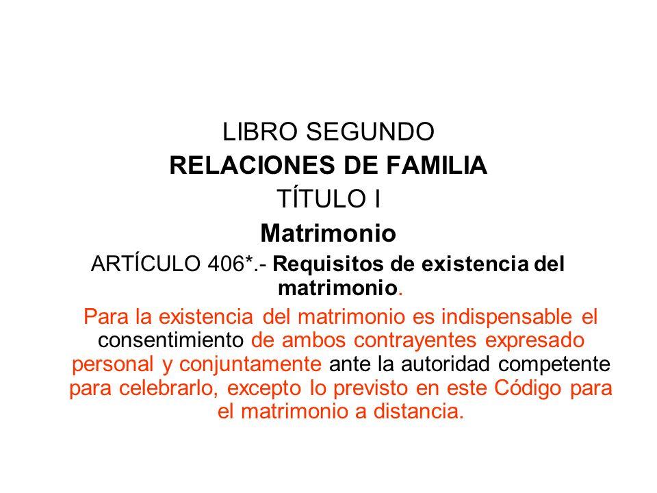 LIBRO SEGUNDO RELACIONES DE FAMILIA TÍTULO I Matrimonio ARTÍCULO 406*.- Requisitos de existencia del matrimonio. Para la existencia del matrimonio es