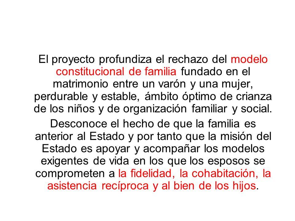 El proyecto profundiza el rechazo del modelo constitucional de familia fundado en el matrimonio entre un varón y una mujer, perdurable y estable, ámbi