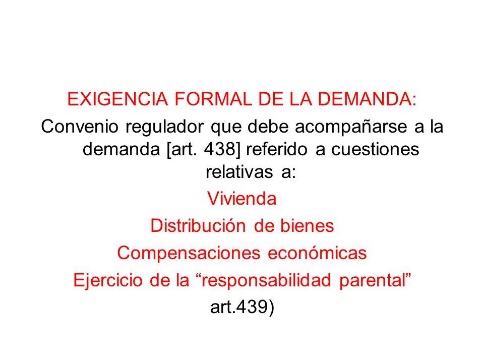 EXIGENCIA FORMAL DE LA DEMANDA: Convenio regulador que debe acompañarse a la demanda [art. 438] referido a cuestiones relativas a: Vivienda Distribuci