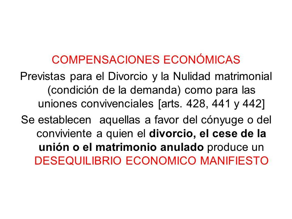COMPENSACIONES ECONÓMICAS Previstas para el Divorcio y la Nulidad matrimonial (condición de la demanda) como para las uniones convivenciales [arts. 42