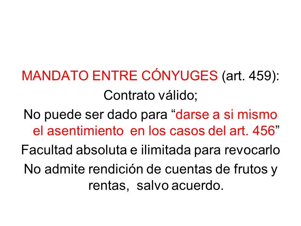 MANDATO ENTRE CÓNYUGES (art. 459): Contrato válido; No puede ser dado para darse a si mismo el asentimiento en los casos del art. 456 Facultad absolut