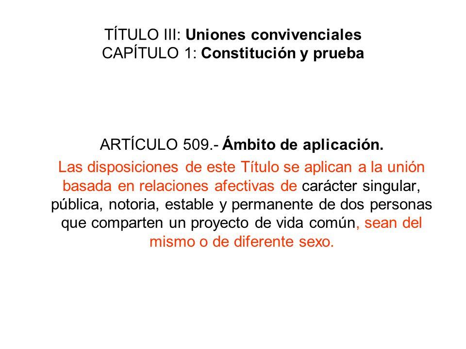 TÍTULO III: Uniones convivenciales CAPÍTULO 1: Constitución y prueba ARTÍCULO 509.- Ámbito de aplicación. Las disposiciones de este Título se aplican