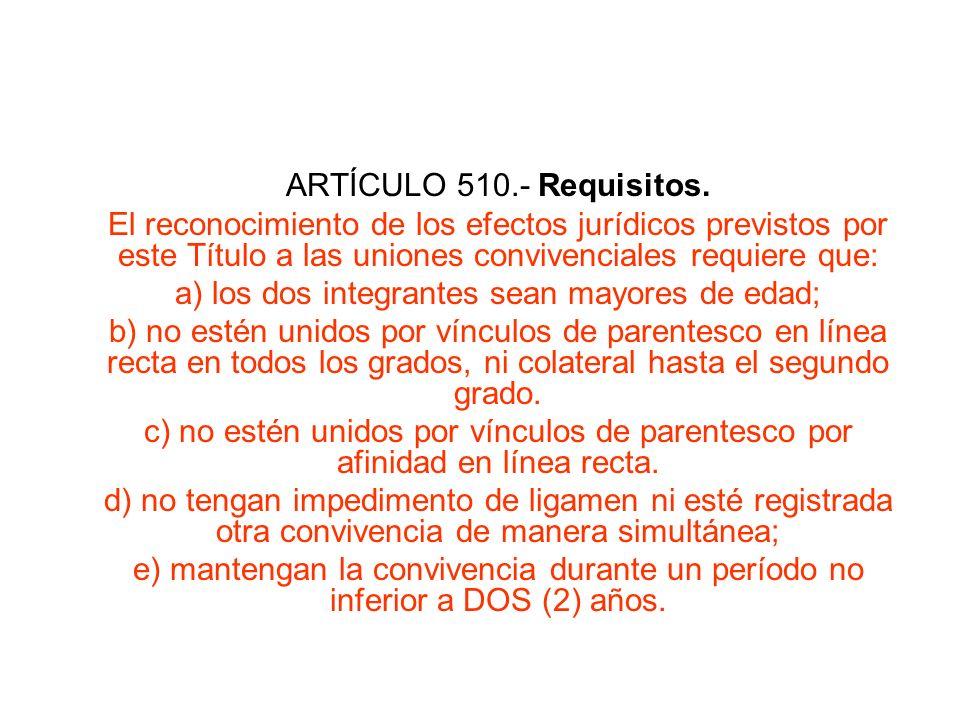 ARTÍCULO 510.- Requisitos. El reconocimiento de los efectos jurídicos previstos por este Título a las uniones convivenciales requiere que: a) los dos