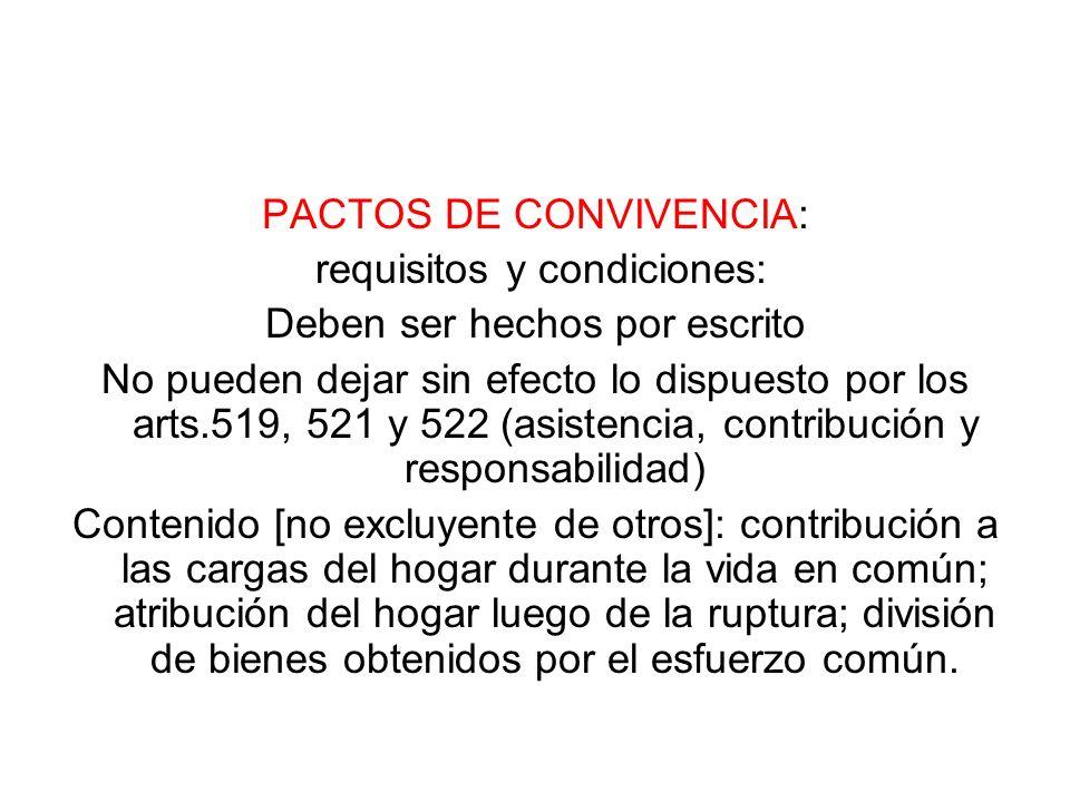 PACTOS DE CONVIVENCIA: requisitos y condiciones: Deben ser hechos por escrito No pueden dejar sin efecto lo dispuesto por los arts.519, 521 y 522 (asi