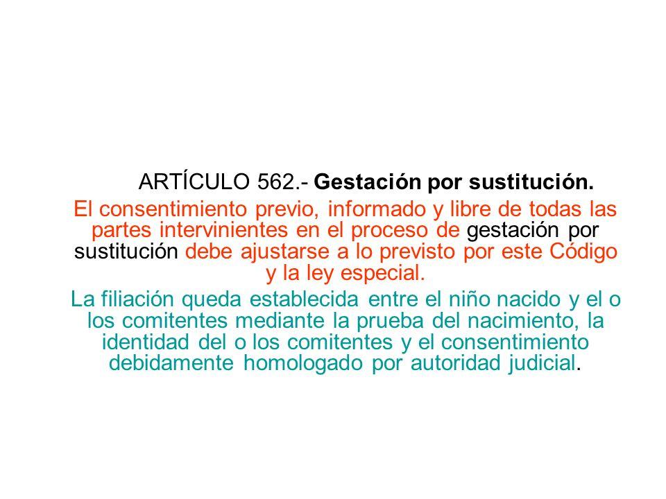 ARTÍCULO 562.- Gestación por sustitución. El consentimiento previo, informado y libre de todas las partes intervinientes en el proceso de gestación po