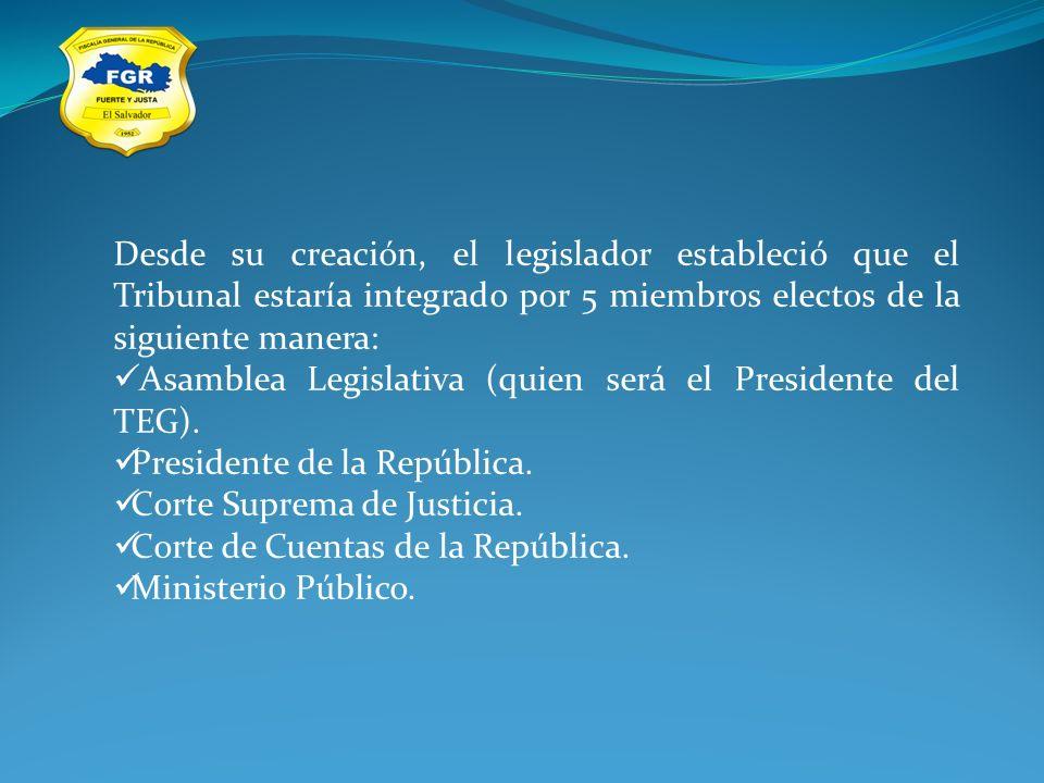 Desde su creación, el legislador estableció que el Tribunal estaría integrado por 5 miembros electos de la siguiente manera: Asamblea Legislativa (qui