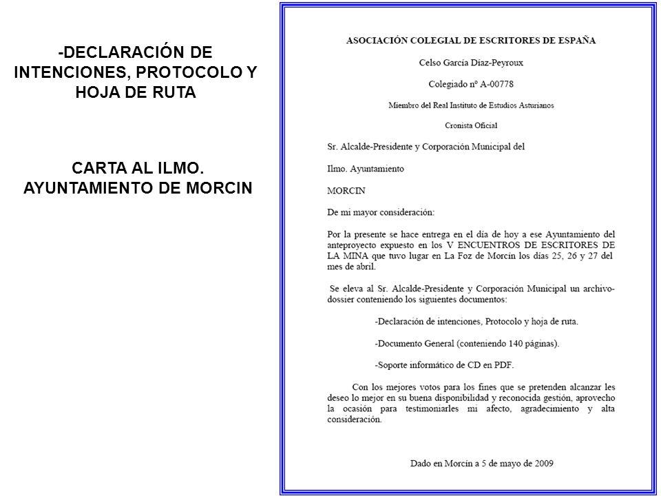 CARTA AL ILMO. AYUNTAMIENTO DE MORCIN -DECLARACIÓN DE INTENCIONES, PROTOCOLO Y HOJA DE RUTA