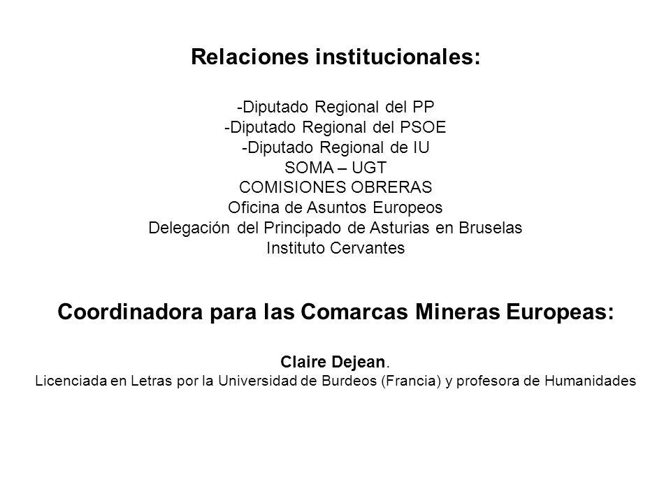 Relaciones institucionales: -Diputado Regional del PP -Diputado Regional del PSOE -Diputado Regional de IU SOMA – UGT COMISIONES OBRERAS Oficina de As