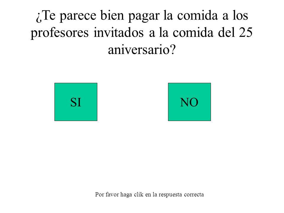 SINO Por favor haga clik en la respuesta correcta ¿Te parece bien pagar la comida a los profesores invitados a la comida del 25 aniversario