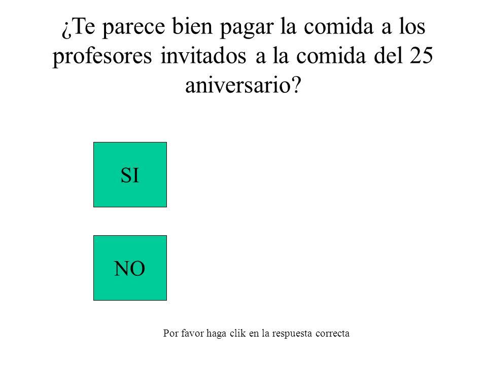 SI NO Por favor haga clik en la respuesta correcta ¿Te parece bien pagar la comida a los profesores invitados a la comida del 25 aniversario