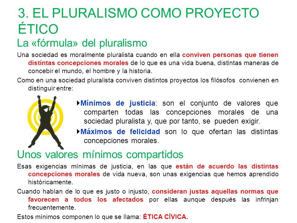 3. EL PLURALISMO COMO PROYECTO ÉTICO La « fórmula» del pluralismo Una sociedad es moralmente pluralista cuando en ella conviven personas que tienen di