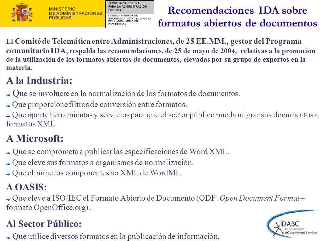CONSEJO SUPERIOR DE INFORMÁTICA Y PARA EL IMPULSO DE LA ADMINISTRACIÓN ELECTRÓNICA SECRETARÍA GENERAL PARA LA ADMINISTRACIÓN PÚBLICA http://www.csi.map.es/csi/pg5c10.htm Administración General del Estado Criterios de seguridad, normalización y conservación