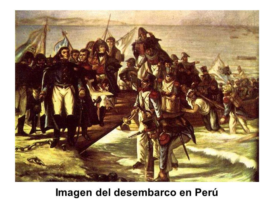 Imagen del desembarco en Perú