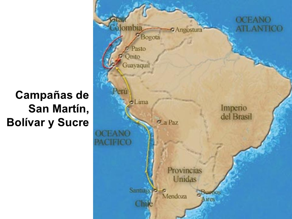 Campañas de San Martín, Bolívar y Sucre