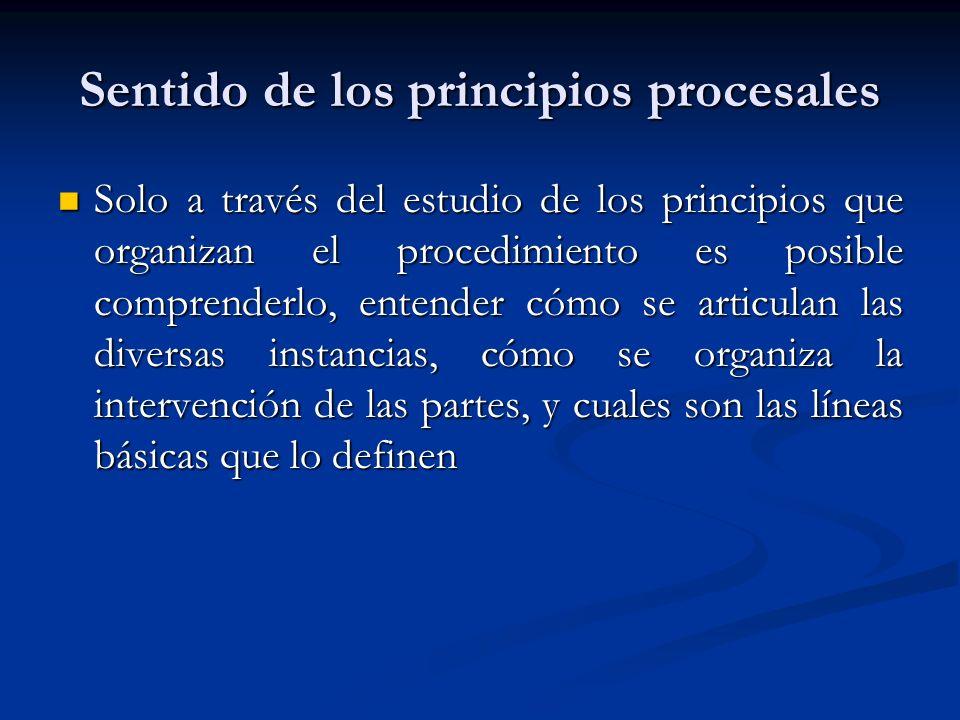 Sentido de los principios procesales Solo a través del estudio de los principios que organizan el procedimiento es posible comprenderlo, entender cómo se articulan las diversas instancias, cómo se organiza la intervención de las partes, y cuales son las líneas básicas que lo definen Solo a través del estudio de los principios que organizan el procedimiento es posible comprenderlo, entender cómo se articulan las diversas instancias, cómo se organiza la intervención de las partes, y cuales son las líneas básicas que lo definen