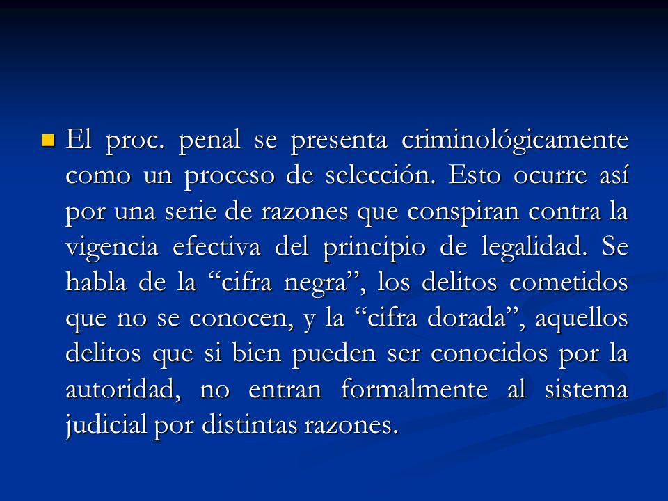 El proc.penal se presenta criminológicamente como un proceso de selección.