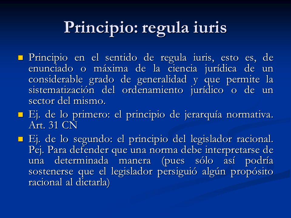 Principio: regula iuris Principio en el sentido de regula iuris, esto es, de enunciado o máxima de la ciencia jurídica de un considerable grado de generalidad y que permite la sistematización del ordenamiento jurídico o de un sector del mismo.
