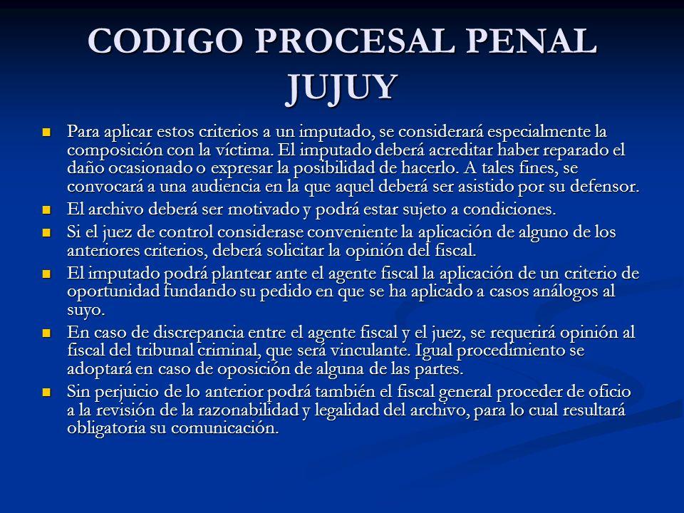 CODIGO PROCESAL PENAL JUJUY Para aplicar estos criterios a un imputado, se considerará especialmente la composición con la víctima.