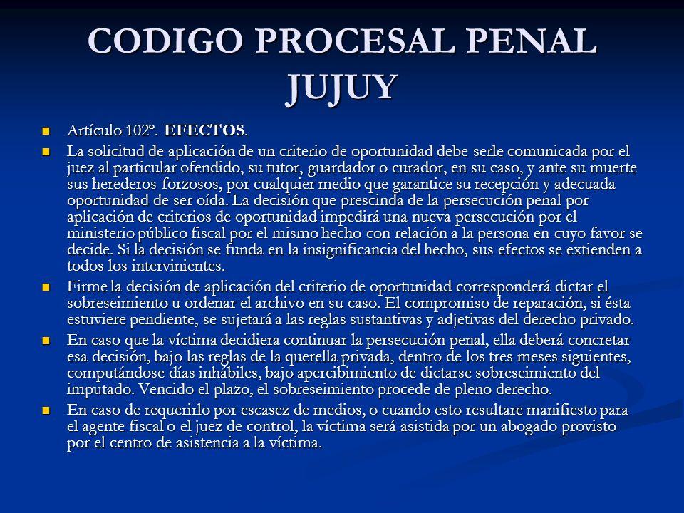 CODIGO PROCESAL PENAL JUJUY Artículo 102º.EFECTOS.