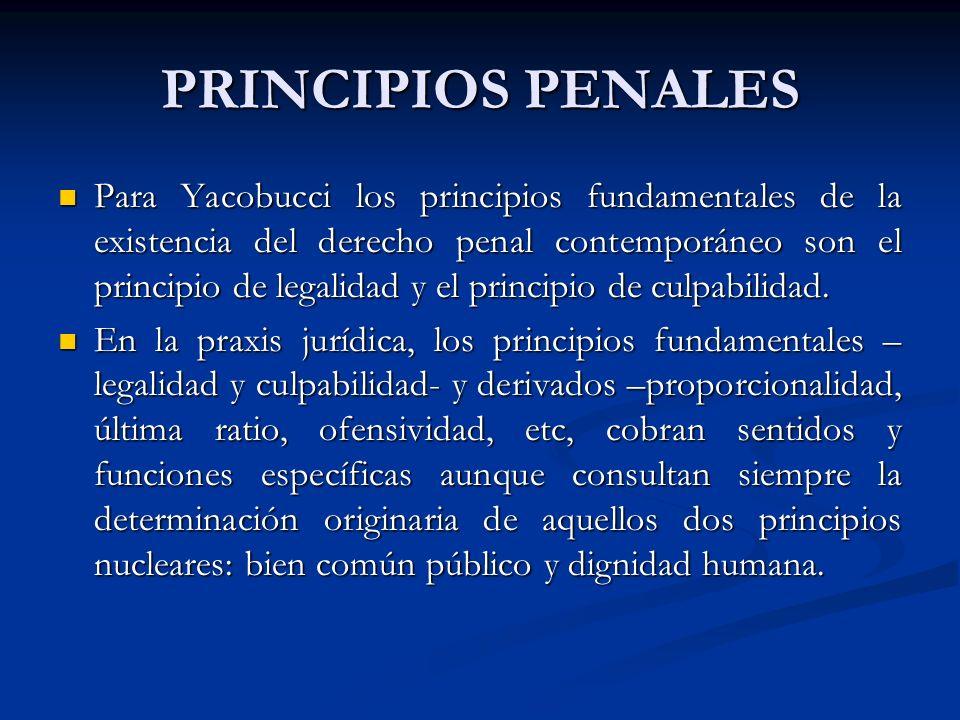 PRINCIPIOS PENALES Para Yacobucci los principios fundamentales de la existencia del derecho penal contemporáneo son el principio de legalidad y el principio de culpabilidad.