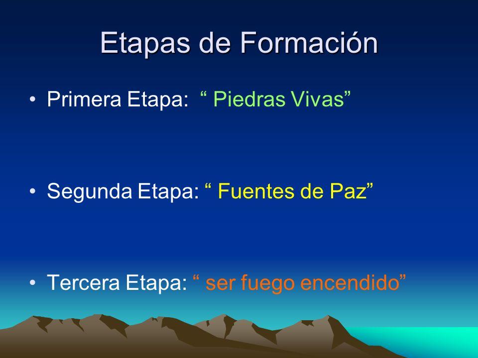 Etapas de Formación Primera Etapa: Piedras Vivas Segunda Etapa: Fuentes de Paz Tercera Etapa: ser fuego encendido